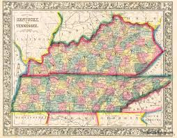 Illinois Map With Counties by County Map Of Kentucky And Tennessee Sold Antique Maps