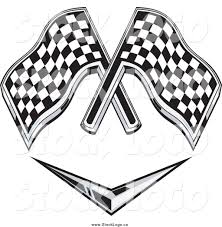 Checkered Racing Flags Vector Clipart Of Checkered Racing Flags Over A Chevron Symbol By