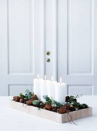 tray with candles greenery and pine cones love bringing in