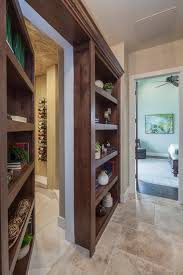 Hidden Room Interior Blue Painted Hidden Door Bookshelf Brown Laminate Wood