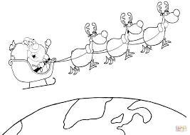 santa clause coloring pages team of reindeer and santa in his sleigh flying above the earth