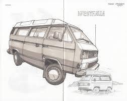 volkswagen van drawing vw t3 westfalia ink pen drawing with markers drawn onto jo u2026 flickr