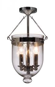 flush mount lantern light three light chrome blown clear glass foyer hall semi flush mount