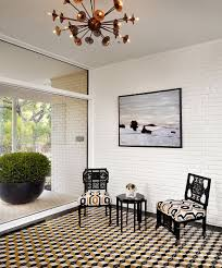 decor mid century modern patterns black and white banquette