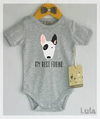 Cute Dog Products by Bull Terrier Baby Clothes Dog Baby Best Friend Print Cute