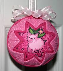pink pig fabric quilted ornament one of a pink