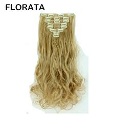 Blonde Hair Extensions Clip In by Florata 24 Inch Curly Full Head Clip In Synthetic Hair Extensions