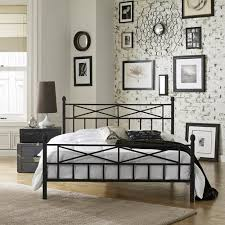 premier christel queen metal platform bed frame black walmart com