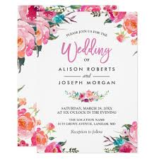 floral blossom watercolor flowers wedding card zazzle