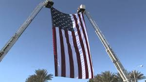 Hanging A Flag Vertically Large American Flag Hanging On Las Vegas Fire Trucks Youtube