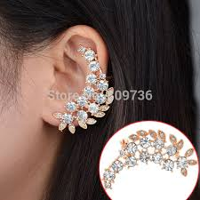 design of earing 1pc fashion golden rhinestone leaf earrings clip new design