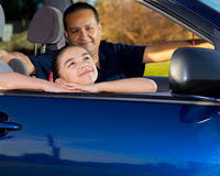 Daughter Nervous Nervous Father Teaching Teenage Daughter To Drive Stock Photo