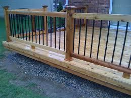 low wooden deck with aluminum balusters outdoor aluminum deck