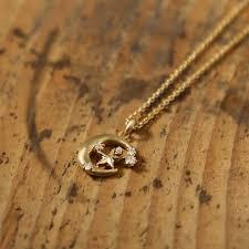 moon pendant necklace gold images Jewelry avaron rakuten global market luna star k18 diamond moon jpg