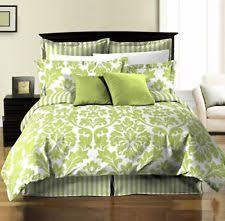 chezmoi collection 8 piece soft microfiber reversible white green