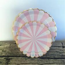 80pcs pink stripe gold tableware paper plates cups napkins