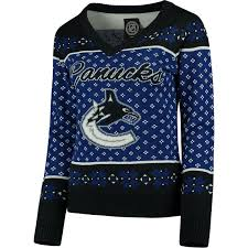black sweater womens s vancouver canucks klew blue black big logo v neck