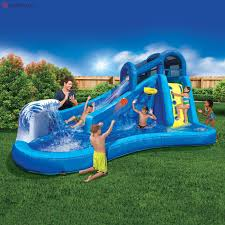 inflatable water slide pool bounce house swimming backyard