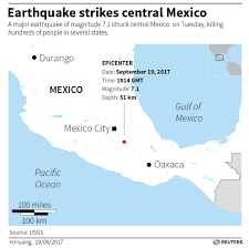 Mexico On A Map by Strong Quake Near Mexico City Kills At Least 226 Rescuers Dig