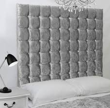 Silver Velvet Headboard by Silver Crush Velvet Bed And Big 6 Tier Diamante Headboard Wall