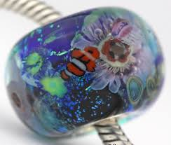 halloween lampwork beads coral reef focal sterling silver european charm murano glass bead