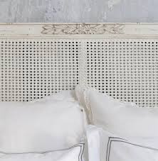 blanka french country antique white elegant caned queen headboard