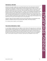 rehearsal report template stagemanagament bible