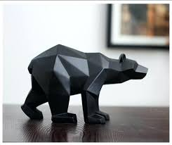 statue decor modern abstract black panther sculpture geometric resin