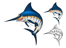 high quality blue marlin character include flat design and
