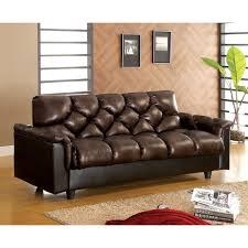 Leather Like Sofa Furniture Of America Pouffle Brown Leather Like Futon Sofa Free
