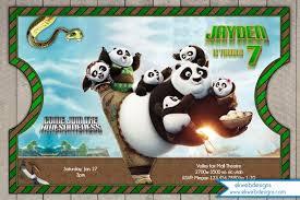 kungfu panda 3 custom birthday invitation vintage ticket style