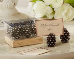 pinecone place card photo holders fall wedding favors by kate aspen