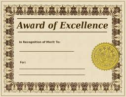 printable award of excellence template sample for employee