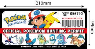 pokemon hunting permit funny bumper car fridge wall stickers pokemon hunting permit size jpg