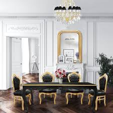 Baroque Dining Table Dining Table Black Lacquered Wood And Gold Edge
