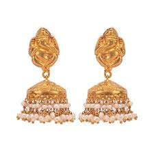 jhumka earrings small ganesha top gold plated temple jhumka earrings by missori in