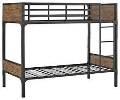Industrial Bunk Beds Rustic Wood Bunk Bed Brown Industrial Bunk