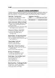 english worksheet subject verb agreement song lyrics middle