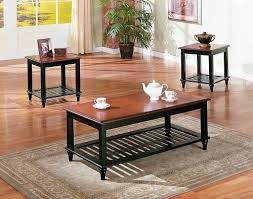 Walnut Wood Coffee Table 3 Pc Set Solid Wood Coffee Table With 2 End Tables With Shelf In