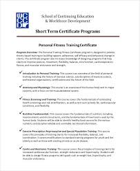 fitness training certificates 5 free word pdf documents