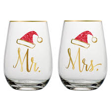 stemless wine glasses mr and mrs santa stemless wine glass
