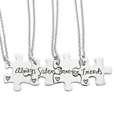 puzzle necklace images Always sisters forever friends 4 piece puzzle necklace set jpg