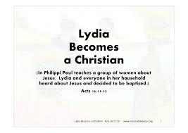 lydia becomes a christian mission bible class