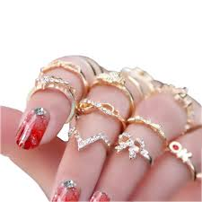 finger rings images images Cjeslna women 39 s rhinestone bowknot knuckle midi mid jpg