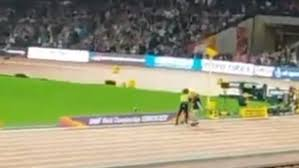 streaker runs across the track at the world championships daily