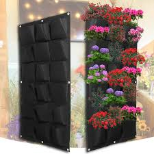planting bags 18 pockets pot black hanging vertical wall garden