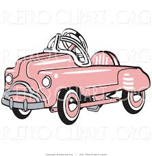 retro clipart of an old fashioned pink metal pedal convertible toy