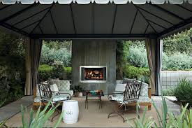 gazebo curtains patio transitional with area rug concrete