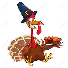 thanksgiving turkey chief cook serving pumpkin pie vector