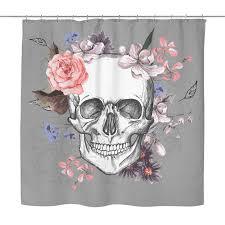 Skull Shower Curtain Hooks Garden Skull Shower Curtain Multiple Colors On Grey U2013 Sugar